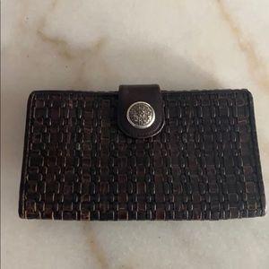 Brighton Brown Black Weave Leather Wallet